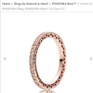 Hearts of Pandora rose gold stacking ring